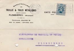 Plombières, Carte Publicitaire, Manufacture Treillis Toiles Métalliques (Plombières - Moresnet -Henri-Chapelle) - Plombières