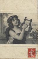 Carte Femme Instrument Musique 1908 Fantaisie - Femmes