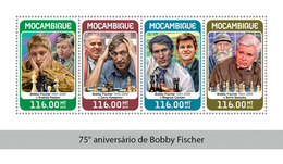MOZAMBIQUE 2018 - B. Fischer, Kasparov, Karpov, Carlsen, Spassky. Official Issue - Schaken