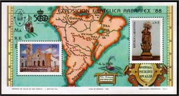 Argentina - 1988 - ARBRAFEX '88 - Carte De L'Amérique Du Sud Du XVIe Siècle. - Argentina