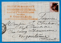 1876 Lettre (LONDON) Importateur De Vins De (33) BORDEAUX Contacte Fabricant D'Eaux De Vie à (16) ANGOULÊME (voir Texte) - United Kingdom