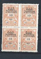 Montenegro - Austrian Occupation - Revenues - Bloc Of 4 - Mnh - 1 - Montenegro