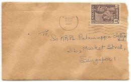 Malaya - Selangor 1962 Cover Klang To Singapore W/ Scott 119 - Selangor