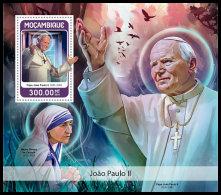 MOZAMBIQUE 2018 MNH** Pope John Paul II. Mother Teresa Mutter Teresa Medre Teresa S/S - IMPERFORATED - DH1826 - Mère Teresa