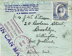 1934-  TIN CAN CANOE ISLAND - Petite Enveloppe De Niufoou Pour La Nlle Zélande - Tonga (1970-...)
