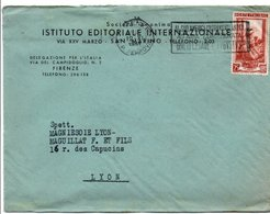 ITALIE LETTRE A EN TETE DE FIRENZE POUR LA FRANCE DU 12/11/1951 - Marcophilie - EMA (Empreintes Machines)