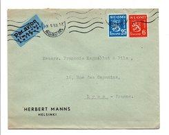 FINLANDE AFFRANCHISSEMENT COMPOSE SUR LETTRE AVION POUR LA FRANCE DU 9/5/1953 - Covers & Documents