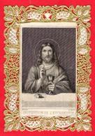 -- PETITE IMAGE DENTELLE DOREE Genre Canivet - INSTITUTION DE L'EUCHARISTIE -Editeur Dopter -- - Imágenes Religiosas