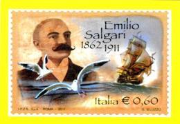 [MD2006] CPM - SALGARI - RIPRODUZIONE FRANCOBOLLO POSTE ITA. - CENTENARIO DELLA SCOMPARSA - CON ANNULLO 13.4.2011 - NV - Scrittori