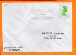 NORD, Valenciennes, Flamme SCOTEM N° 10574, Festival Des Arts, 4-18 Mai 90, (Gare) - Oblitérations Mécaniques (flammes)
