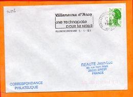 NORD, Villeneuve D'ascq, Flamme SCOTEM N° 9089b, Une Technopole Pour Le Nord, (Gare) - Oblitérations Mécaniques (flammes)