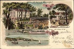 Lithographie Woltersdorf Bei Berlin, Wirtshaus Schloss Woltersdorf, Bes. Friedr. Saewert, Flaakensee - Allemagne