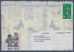 Enveloppe Egypte 1 Timbre à Destination France Avec étiquette Pour Faire Suivre - Egypt