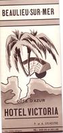 Brochure Dépliant Faltblatt Toerisme Tourisme - Hotel Victoria - Beaulieu Sur Mer - Cote D'Azur Ca 1955 - Dépliants Touristiques
