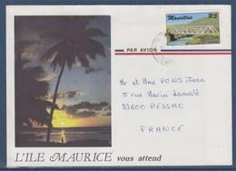 = Enveloppe Illustrée Île Maurice 1 Timbre Pont Tamarin (Tamarin Bridge) à Destination France 87 - Maurice (1968-...)