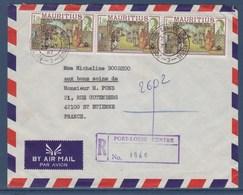 = Enveloppe Recommandée 27.7.87 Île Maurice 3 Timbres Immigration Indienne à Destination France 31.7.87 - Maurice (1968-...)