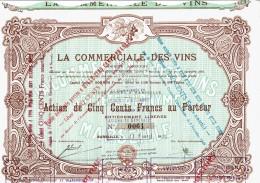 13-VINS. LA COMMERCIALE DES VINS. MARSEILLE. Action 1923 DECOREE - Aandelen