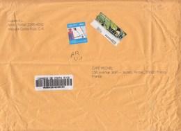 = Enveloppe 1 Timbre + Vignette Adhésive Illustrée, Recommandé Du Costa Rica à Destination France, - Costa Rica