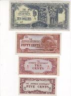 JAPON - THE JAPANESE GOVERNMENT - 4 Billets . 10 Dollars - 50 Cents - 10 Cents Et 5 Cents - 3 Billets Neufs Et Un SUP - Japon