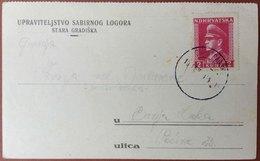 CROATIA NDH-BOSNIA, STARA GRADISKA POW CAMP CENSOR CARD, ANTE PAVELIC Stamp To BANJA LUKA 1944 RARE!!!!! - Croatie