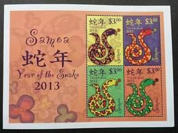 Samoa Year Of The Snake 2013 Reptiles Chinese Zodiac Lunar New Year (miniature Sheet) MNH - Samoa (Staat)