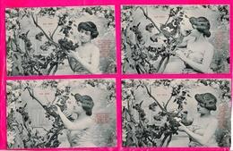 Serie  De 5  Cpa  Cartes Postales Ancienne - Fantaisie Femme Le Nid Royer Nancy - Women