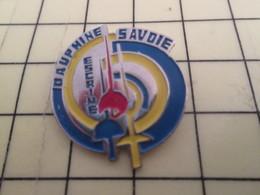 413B Pin's Pins / Rare Et De Belle Qualité !!! THEME : SPORTS / SABRE EPEE FLEURET ESCRIME DAUPHINE HAUTE-SAVOIE - Fencing