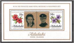 Aitutaki Cook Islands 1973 Royal Wedding Princess Anne And Mark Phillips, Mi Bloc 1, MNH(**) - Aitutaki