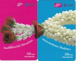PUZZLE DE 2 TARJETAS DE TAILANDIA DE FLORES (FLOR-FLOWER) - Flores