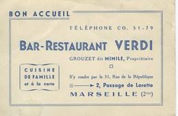 Carte De Visite Commerciale Publicité Bar Restaurant Verdi - Marseille - Visiting Cards