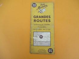 Carte Pneu Michelin/Grandes Routes/Serv.de Tourisme Michelin/Ligne De Démarcation/N°98/Schneider/Levallois/1940   PGC190 - Cartes Routières