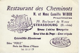 Carte De Visite Commerciale Publicité Restaurant Des Cheminots - Strasbourg - Cartes De Visite
