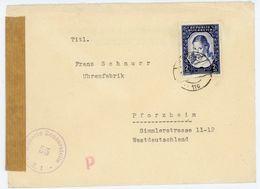 """Nr. 975 EF Zensurstempel Der""""Allierten Zensurstelle"""" Nach Deutschland - 1945-60 Briefe U. Dokumente"""