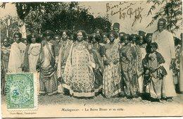MADAGASCAR CARTE POSTALE DE MADAGASCAR LA REINE BINAO ET SA SUITE DEPART -2- ?-?- 06 MADAGASCAR POUR LE TONKIN - Madagascar (1889-1960)