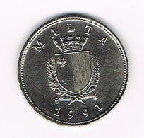 &  MALTA  25 CENTS  1991 - Malte