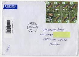 Priority Letter From Romania  To Russia  Birds Bird Oiseaux Oiseau - Pájaros
