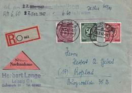 ALLEMAGNE ZONE AAS LETTRE CONTRE REMBOURSEMENT DE LEIPZIG 1947 - Zone AAS