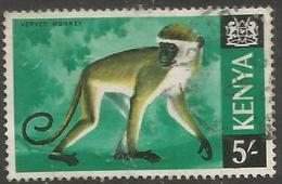 Kenya  - 1966 Vervet Monkey 5/- Used (glazed Paper)   SG 33a - Kenya (1963-...)