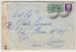 Italy, Letter Cover Censored Travelled 1941 Milano To Andora, Savona B180710 - Storia Postale