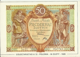 POSTAL 50 ZLOTY POLONIA 1929 - Monedas (representaciones)