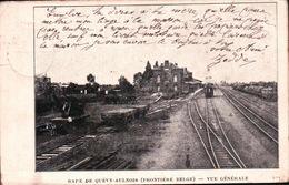 CPA BELGIQUE QUEVY AULNOIS La Gare Vue Générale - Quevy