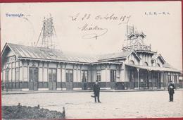 Dendermonde Termonde 1905 La Gare De Statie Station Geanimeerd ZELDZAAM (In Zeer Goede Staat) - Deinze