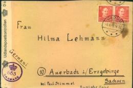 1946, Zensurbrief Aus Den Dänischen Flüchtlingslager VADUM Bei AALBORG Nach Uerbach/Erzgebirge. Mit Dänischer Zensur. - Danemark