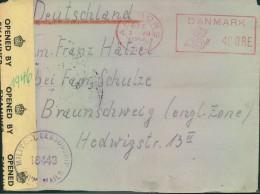 1946, Brief Mit Freistempel 40 Öre Aus Dem Flüchtlingslager AALBORG Nach Braunchweig Mit Britischer Zensur. - Danemark