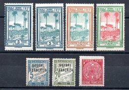 Guyane Französisch Guyana Y&T Taxe 1*, 4*, 13* (2x), 14*, 15*, 22* - Ungebraucht