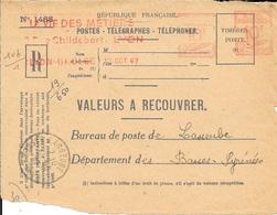 "RHONE 69 - LYON GROLEE - EMA  -1947. - LAVIE DES METIERS -  10 F AILEE  POSTES  B 0902 - SUR 1/2 ENVELOPPE "" RECOMMANDE"" - Postmark Collection (Covers)"
