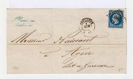 Sur Lettre. Napoléon III 20 C. Bleu, Type I.  (571) - Marcophilie (Lettres)