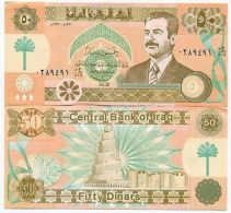 SADDAM  HUSSEIN IRAQ IRAQI  NOTE 50 DINAR - PICK 75 - UNC - ORIGINAL - VERY RARE - Iraq