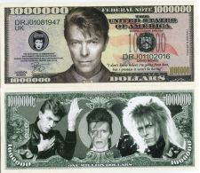 Limited Edition David Bowie Million Dollar Bill Novelty Color Note - 2016 - United States Of America