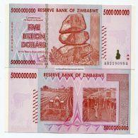 ZIMBABWE 2008 5 BILLION UNC MONEY INFLATION CURRENCY - P 84 - INFLATION CURRENCY - Zimbabwe